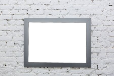 Photo for Empty frame from a painting on a white brick wall. - Royalty Free Image