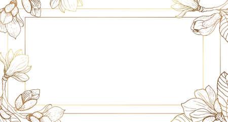 Illustration pour Plants line gold. Luxurious golden nature. Marble background. Flowers in a thin line. Light pastel colors. - image libre de droit