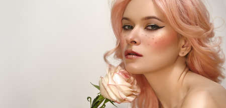 Photo for Beautiful woman with pink hair and fashion make-up. Blonde Female Model with perfect Fresh Clean Skin, Blush Rouge. - Royalty Free Image