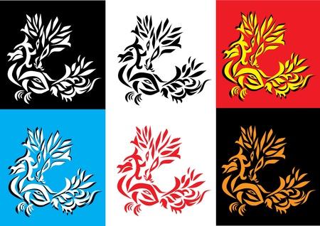 set of dragon . vector illustration.