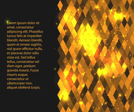 horizontal background for your text or presentation  with gold rhombus