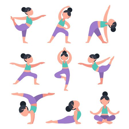 Illustration pour Set of flat girls doing yoga. Bundle of women in different poses for training. Exercises for health, posture, relaxation, meditation, concentration. Morning routine workout, vector illustration. - image libre de droit