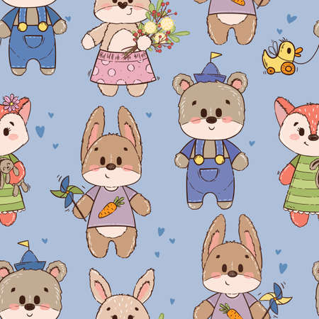 Illustration pour Seamless pattern with cute characters: bear, fox, hare, rabbit or bunny. Texture for boy on blue background. Ornament for a childrens book, cover, textile, cotton, fabric, poster, print. - image libre de droit