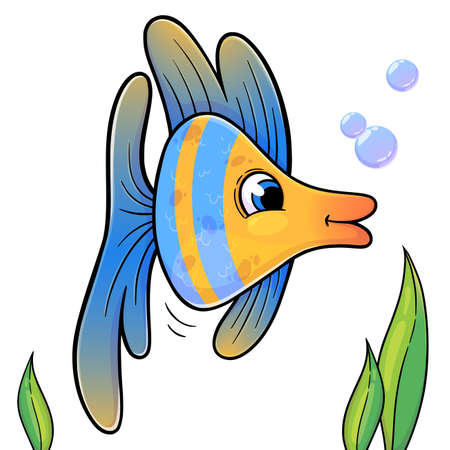Illustration pour Funny fish in cartoon style isolated on white background. Vector illustration of blue and yellow sea animal. Trendy fish for books, print, games. - image libre de droit