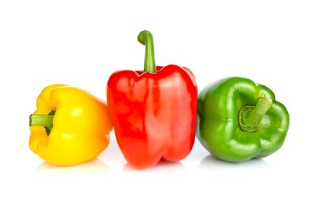 Foto für Three bell peppers: red, green and yellow, isolated on a white background. Close up. - Lizenzfreies Bild