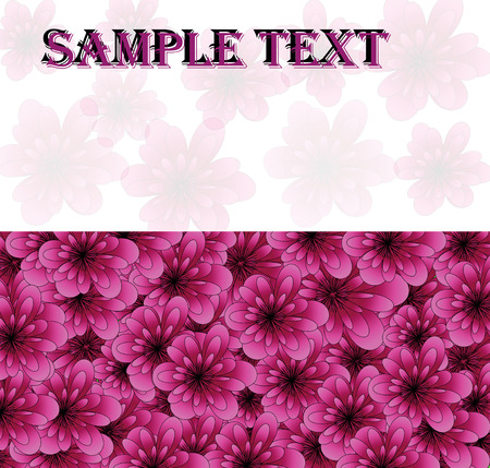 beautiful two-color card with pink flowers