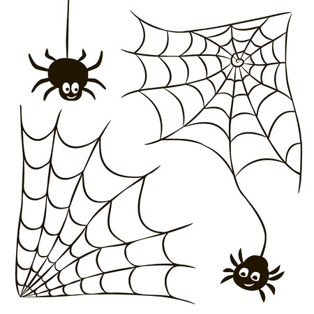 Halloween set of black spider web and spiders