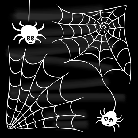 Halloween set of spider web and two spiders