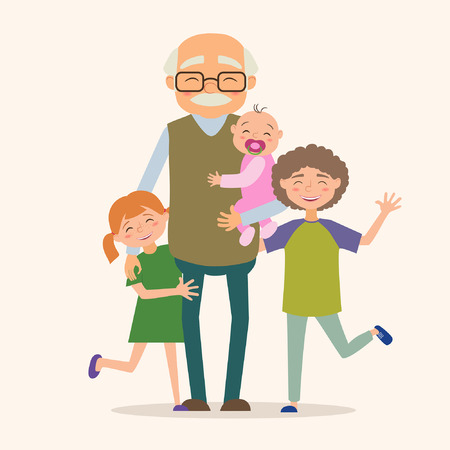 Illustration for Grandfather with her grandchildren. Vector illustration in cartoon style - Royalty Free Image
