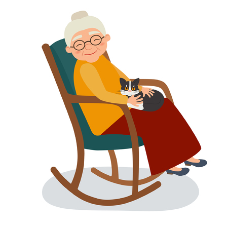 Illustration pour Old woman with cat in her rocking chair. Vector illustration - image libre de droit