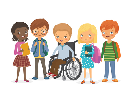 Photo pour Disabled child in a wheelchair with his friends. Pupils girls and boys. International kids with backpacks and books with his friend, a disabled. Vector illustration - image libre de droit