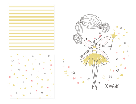 Illustration for Little fairy. Surface design and 2 seamless patterns. Graphic for kids clothing. Use for print design, surface design, fashion kids wear - Royalty Free Image