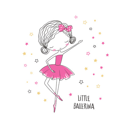Illustration for Little ballerina. T-shirt graphic for kid's clothing. Use for print design, surface design, fashion kids wear - Royalty Free Image