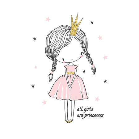 Illustration for Cute little princess girl. Fashion illustration for kids clothing. Use for print design, surface design, fashion kids wear - Royalty Free Image