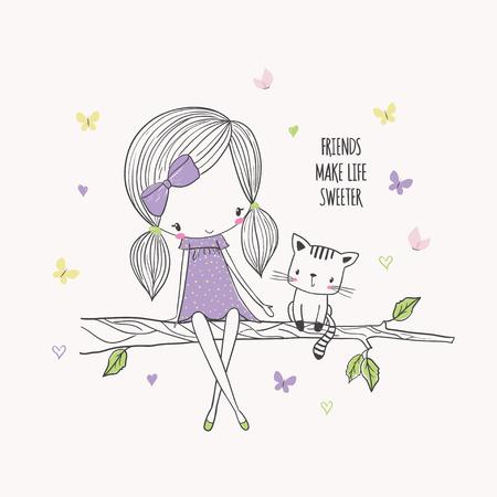 Illustration pour Girl with a cat on a tree. - image libre de droit