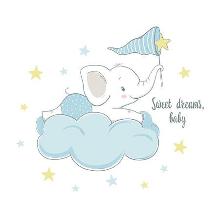 Illustration pour Little elephant on the cloud. Cartoon vector illustration for kids. Use for print design, surface design, fashion kids wear, baby shower - image libre de droit