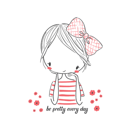 Illustration for Cute girl with bow. Vector illustration for clothing. Use for print design, surface design, fashion kids wear - Royalty Free Image