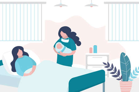 Illustration for Beauty woman lies on bed after giving birth, nurse hold newborn baby. Room in the perinatal center. Interior with furniture. Health care and motherhood concept. Trendy vector illustration - Royalty Free Image