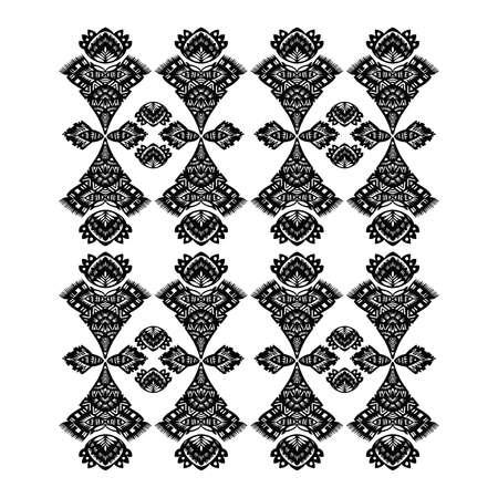 decorative floral pattern black on a white background