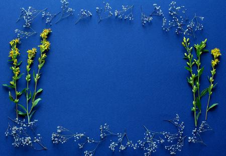 Foto de frame of fresh yellow flowers on a dark blue background. simple top view composition, space for a text - Imagen libre de derechos