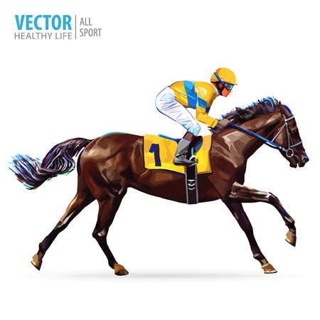 Ilustración de Jockey on horse. Champion. Horse racing. Hippodrome. Racetrack. Jump racetrack. Horse riding. Racing horse coming first to finish line. Vector illustration. - Imagen libre de derechos