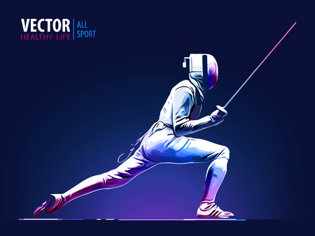 Illustration pour Fencer man wearing fencing suit practicing with sword. Sports arena and lense flare with seon effect vector illustration. - image libre de droit