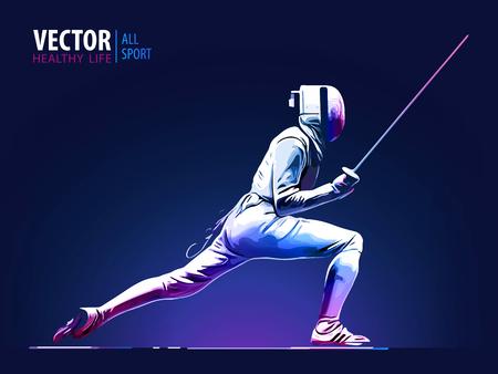 Ilustración de Fencer man wearing fencing suit practicing with sword. Sports arena and lense flare with seon effect vector illustration. - Imagen libre de derechos