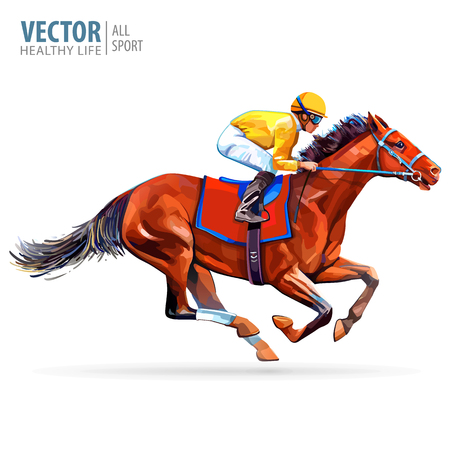 Illustration for Jockey on horse. Champion. Horse racing. Hippodrome. Racetrack. Jump racetrack. Horse riding. Racing horse coming first to finish line. Isolated on white background. Vector illustration - Royalty Free Image