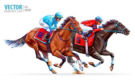 Illustration for Two racing horses competing with each other. Sport. Champion. Hippodrome. Racetrack. Equestrian. Derby. Speed. Isolated on white background. Vector illustration - Royalty Free Image