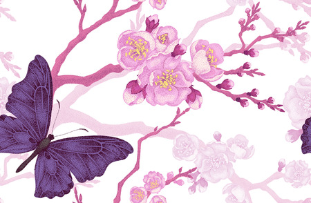 Illustration pour Seamless vector floral background. Flowers and butterflies. Illustration of flowers in the Victorian style. Vintage pattern flowers and butterflies. Sakura Branch and butterflies on white background. - image libre de droit