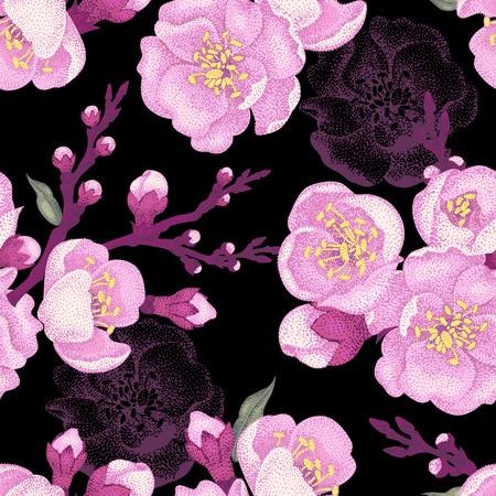 Illustration for Seamless vector floral pattern. Illustration sakura branch in Victorian style. Vintage luxury decoration of sakura branch. Series flower design in unique technique. Sakura branch on black background. - Royalty Free Image