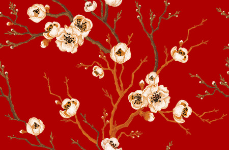 Foto de Sakura branch on red background. Vector seamless pattern. Floral design oriental style. Vintage. Black white red. Beautiful flowers of Oriental cherry tree gold foil printing. - Imagen libre de derechos