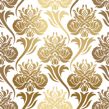 Ilustración de Seamless vector pattern. Abstract illustration, with elements of ornament damask, gold foil printing on a white background. - Imagen libre de derechos