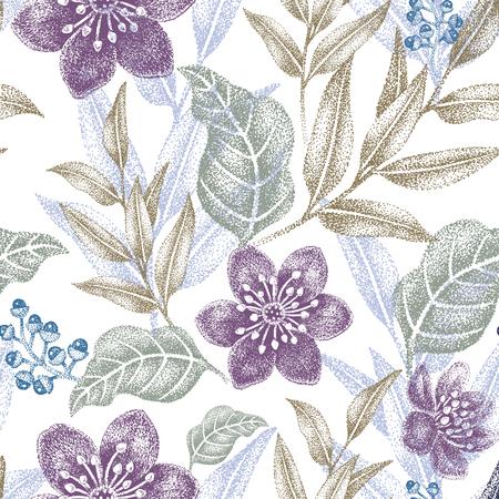 Ilustración de Floral seamless pattern. Design for fabrics, textiles, wallpaper, paper. Vector. Victorian style. - Imagen libre de derechos