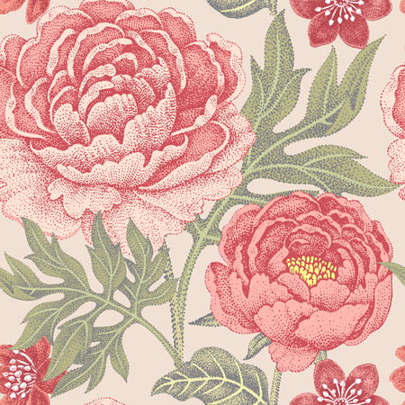 Illustration for Floral seamless pattern for fabrics, textiles, wallpaper, paper. Vector. Garden flowers peonies. Design Victorian style. - Royalty Free Image