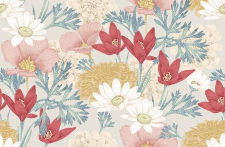 Illustration pour Vintage floral seamless pattern with wild flowers. Vector Illustration. Floral illustration in vintage style for decoration fabrics, textiles, paper, wallpaper. - image libre de droit