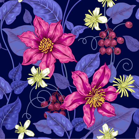 Illustration pour Floral seamless pattern on a black background for fabrics, textiles, wallpaper, paper. Vector. Clematis flowers and ornamental berries. Design Victorian style. - image libre de droit
