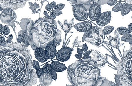 Illustration for Vintage vector seamless pattern. Black and white illustration with roses and spring flowers. Floral design. - Royalty Free Image