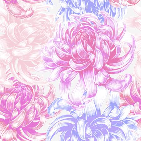 Illustration pour Vector seamless background. Chrysanthemum flowers. Design for fabrics, textiles, paper, wallpaper, Internet. Vintage. Floral ornament. - image libre de droit