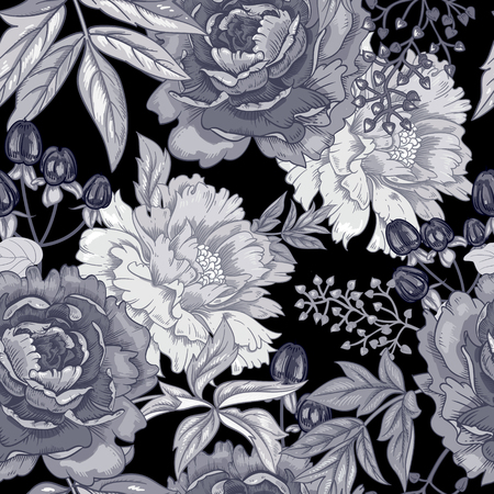 Ilustración de Vector background with the image of garden flowers peony, roses, ornamental grasses, berries. Seamless pattern. Victorian style. Vintage. Black and white. - Imagen libre de derechos