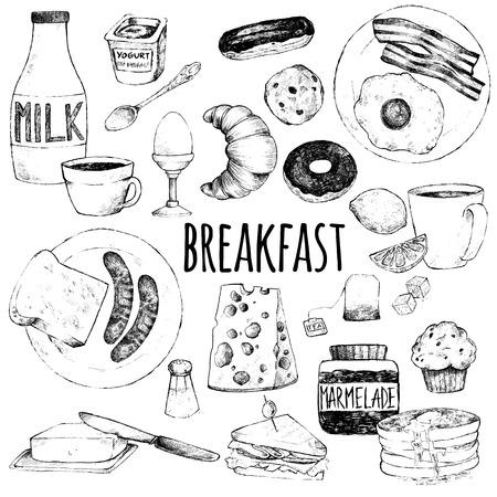 Illustration pour Vector doodle set. Breakfast. Scrambled eggs, bacon, croissant, donut, yogurt, milk, bread, sausages, cheese, butter, sandwich, pancakes, muffins, jam, tea, coffee, eclairs, lemon, salt. Hand drawing. - image libre de droit