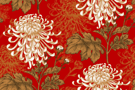 Ilustración de Vector seamless floral pattern. Japanese national flower chrysanthemum. Illustration luxury design, textiles, paper, wallpaper, curtains, blinds. Golden leaves, white flowers on red background. - Imagen libre de derechos