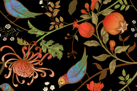 Illustration pour Vintage Japanese chrysanthemum flowers, pomegranates, branches, leaves and birds. Vector seamless pattern. Illustration for fabrics, phone case paper, gift packaging, textiles, interior design, cover. - image libre de droit