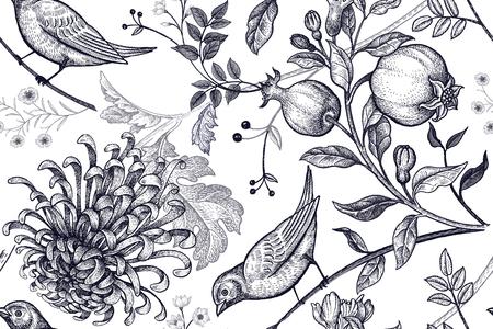 Illustration pour Vintage Japanese chrysanthemum flowers, pomegranates, branches, leaves and birds. - image libre de droit