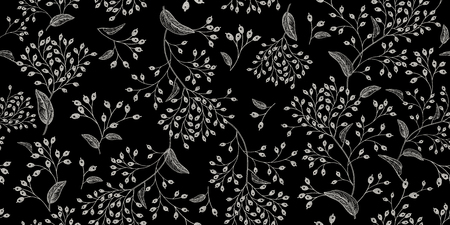 Illustration pour White branches and berries on black background vintage pattern design - image libre de droit