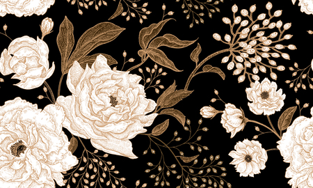 Ilustración de Peonies and roses. Floral vintage seamless pattern. Gold and white flowers, leaves, branches and berries on black background. Oriental style. Vector illustration art. For design textiles, paper. - Imagen libre de derechos