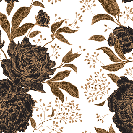 Ilustración de Peonies and roses. Floral vintage seamless pattern. Gold and black flowers, leaves, branches and berries on white background. Oriental style. Vector illustration art. For design textiles, paper. - Imagen libre de derechos
