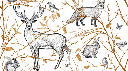 Illustration pour Seamless pattern with tree branches, forest animals and birds. Deer, fox, hare, squirrel. Vector illustration art. Natural design for fabrics, textiles, paper, wallpapers. Gold black, white. Vintage. - image libre de droit