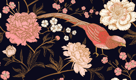 Illustration pour Peonies and pheasants. Floral vintage seamless pattern with flowers and birds. Black, pink and gold color. Oriental style. Vector illustration art. For design textiles, wrapping paper, wallpaper. - image libre de droit