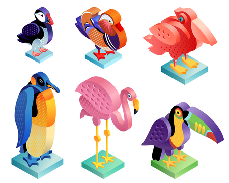 Illustration pour Isometric birds set. Flamingo, puffin, pelican, mandarin duck, penguin and toucan. Illustration art. Vector icons of animals in the original unusual style isolated on white background. - image libre de droit